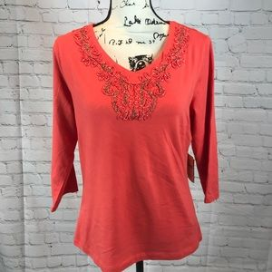 NWT Coldwater Creek 3/4 Sleeve Top w/Embellishment